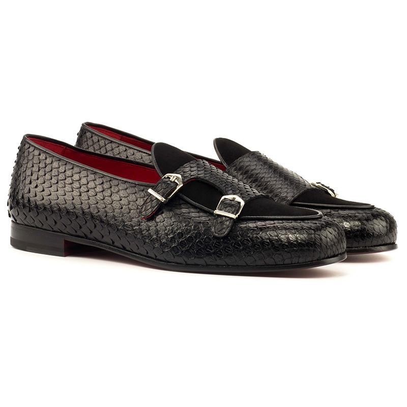 Emanuele Sempre Monk Slipper Python Shoes Black Image