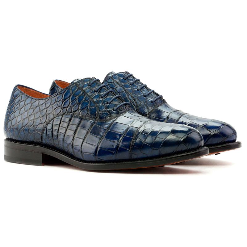 Emanuele Sempre Oxford Alligator Shoes Navy Image