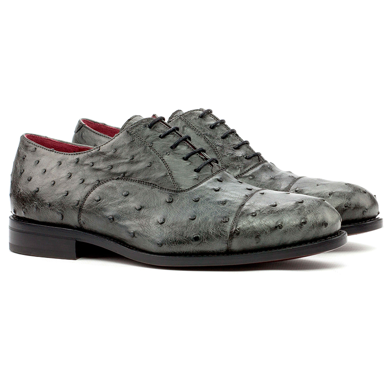 Emanuele Sempre Oxford Ostrich Shoes Grey Image