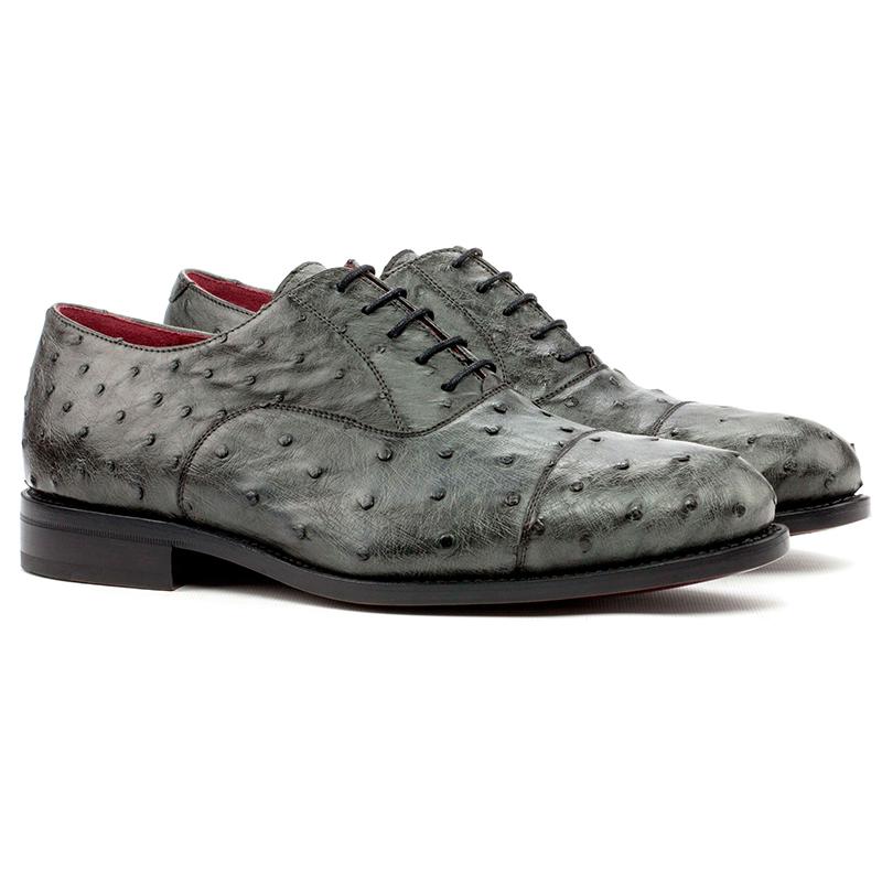 Emanuele Sempre Oxford Ostrich Shoes Grey Image