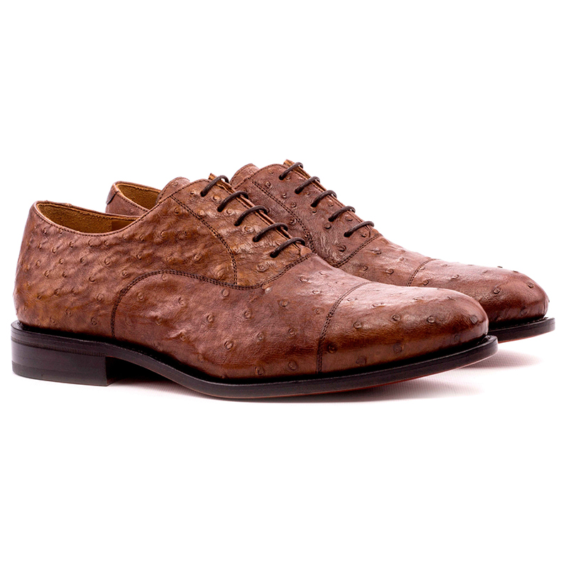 Emanuele Sempre Oxford Ostrich Shoes Med Brown Image
