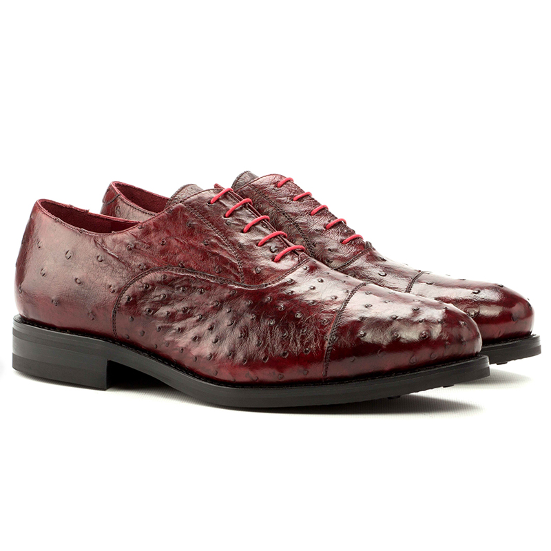 Emanuele Sempre Oxford Ostrich Shoes Red Image