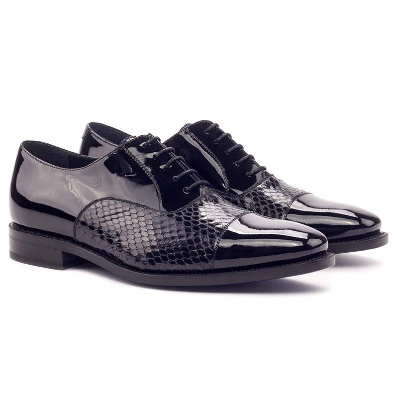 Emanuele Sempre Oxford Python Shoes Black Image