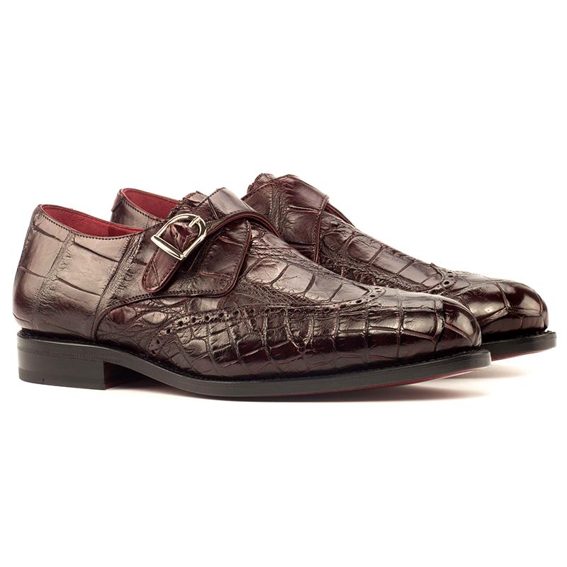 Emanuele Sempre Single Monk Alligator Shoes Burgundy Image
