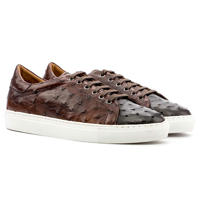 Emanuele Sempre Trainer Ostrich Sneakers Dark Brown/Med Brown Image