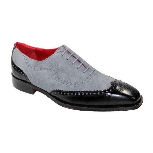 Emilio Franco 203 Black / Grey Wingtip Shoes Image