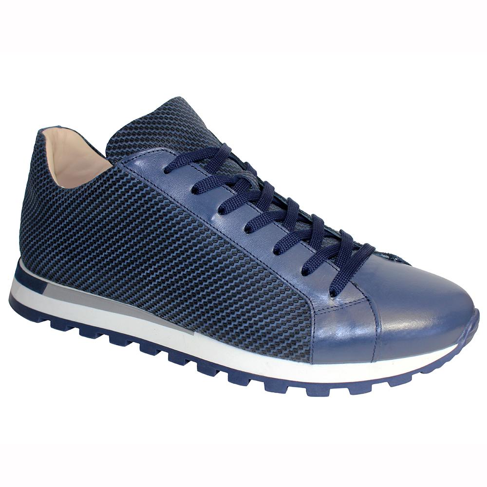 Emilio Franco Alfio Leather & Print Sneakers Blue Image