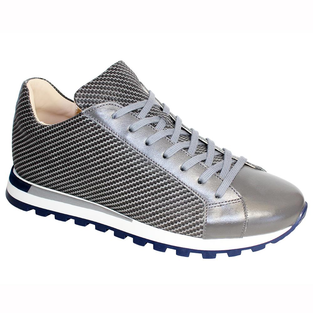 Emilio Franco Alfio Leather & Print Sneakers Gray Image