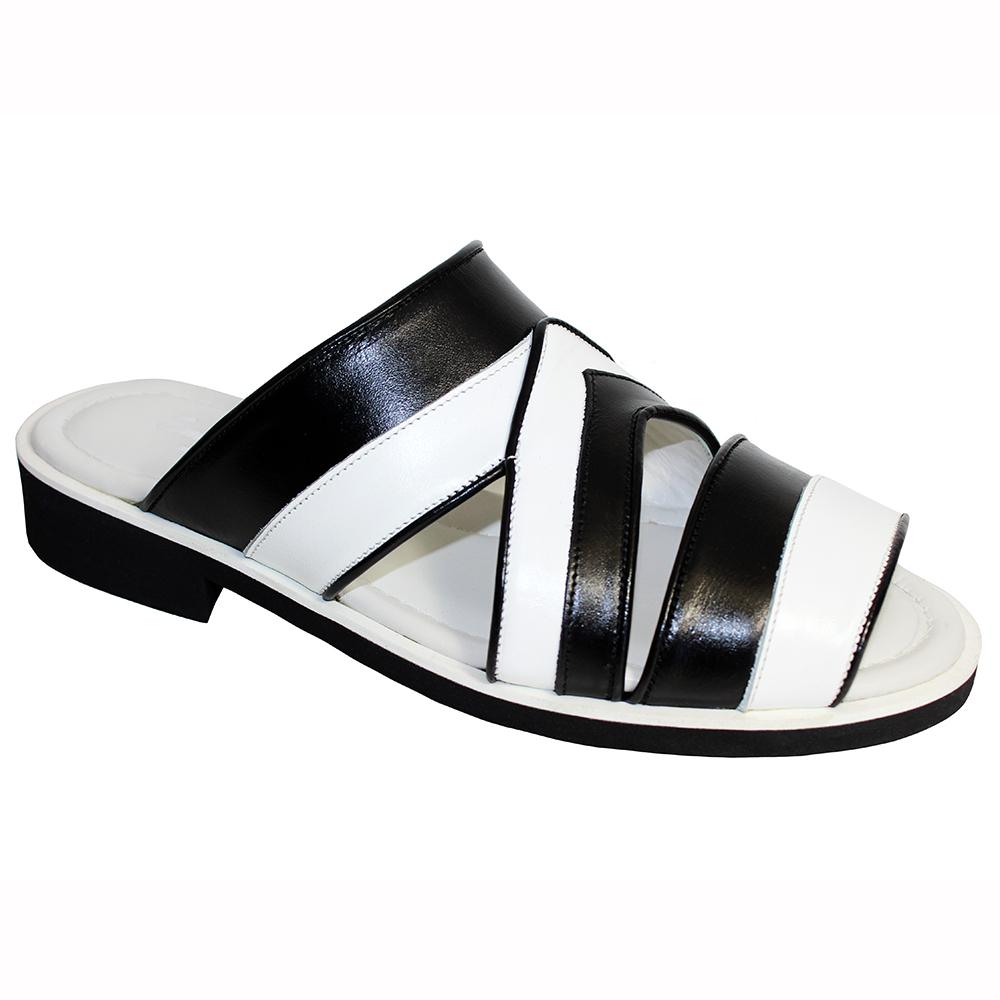 Emilio Franco EF118 Leather Sandals White / Black Image