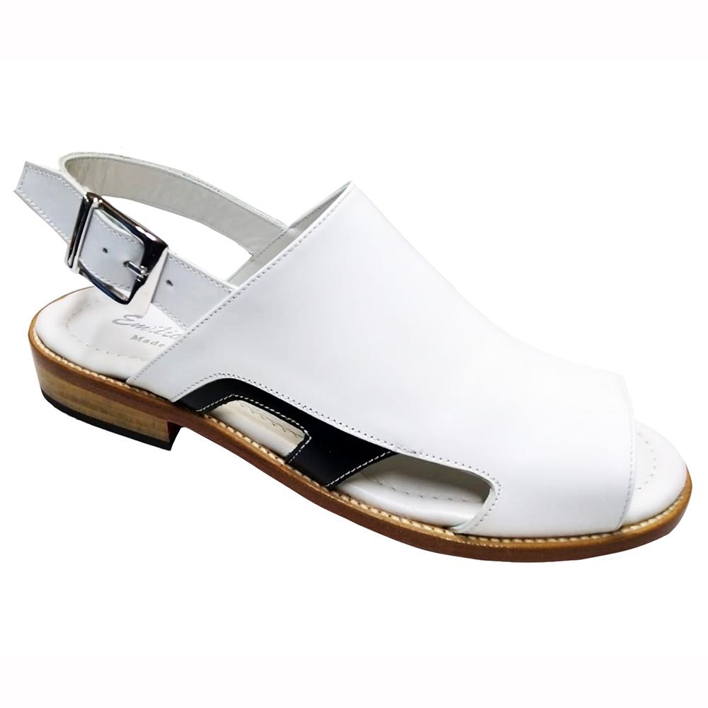 Emilio Franco EF122 Leather Sandals White / Black Image