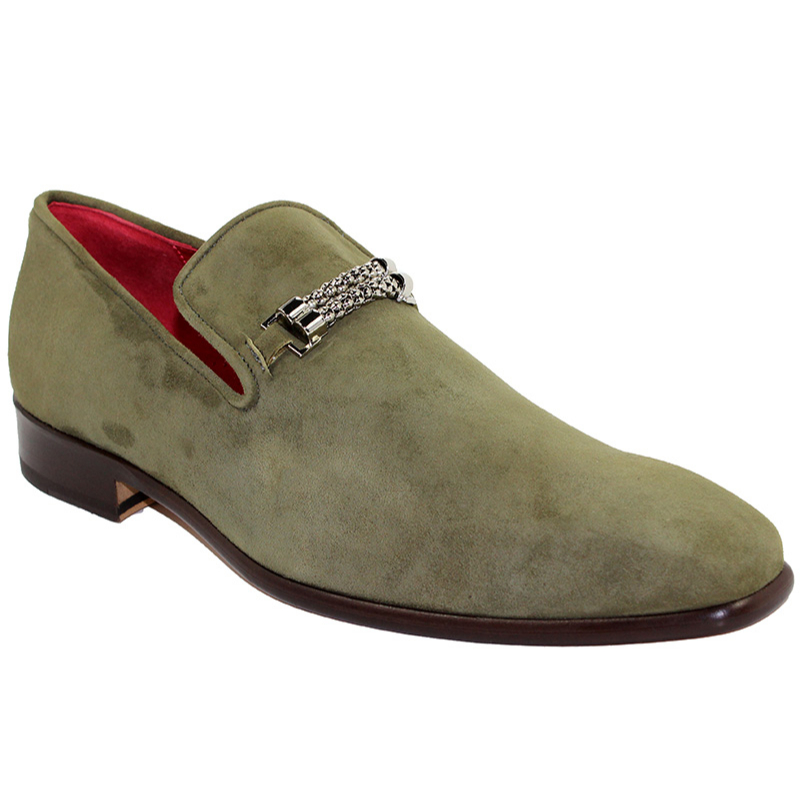 Emilio Franco Francesco Suede Olive Shoes Image