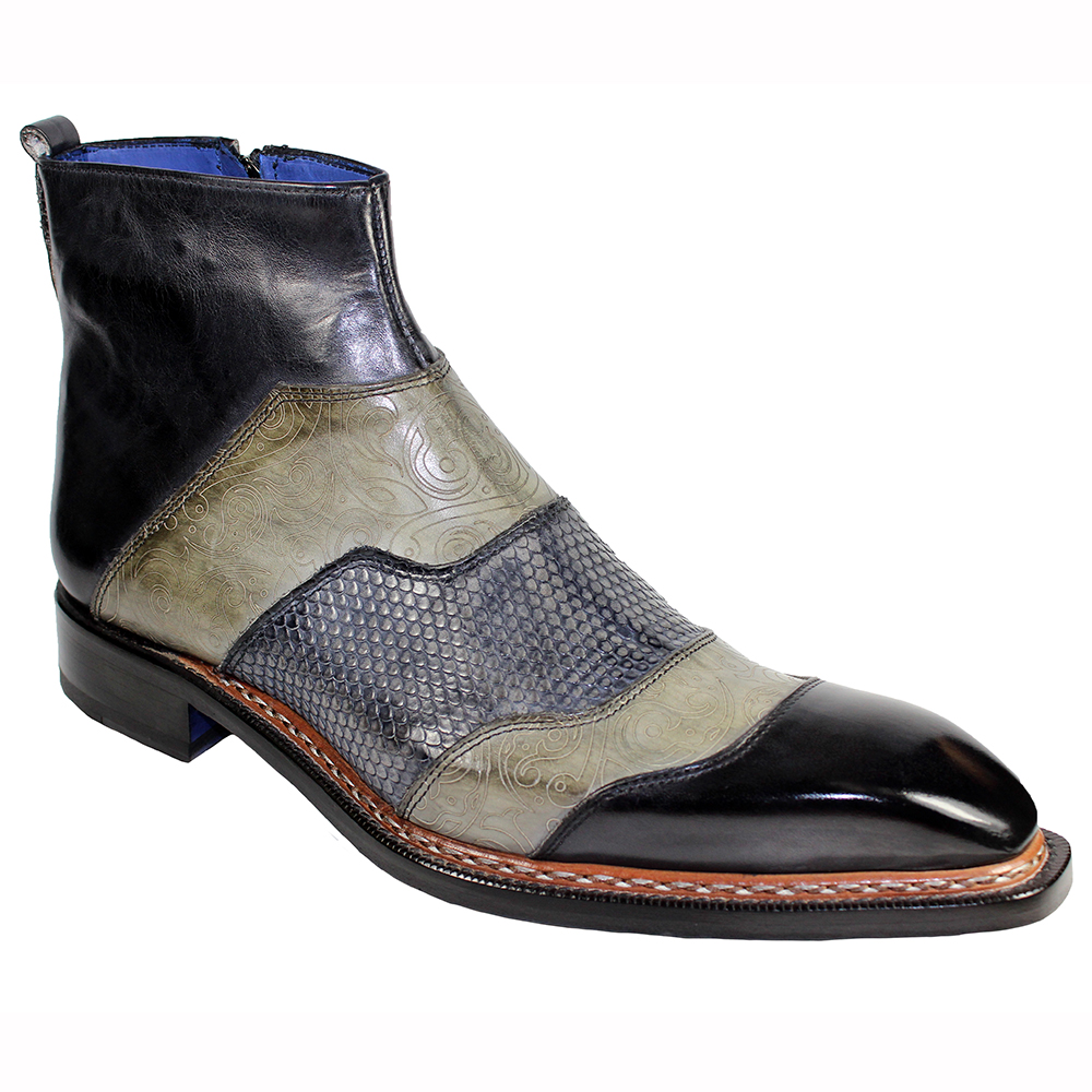 Emilio Franco Lucio Leather Boots Black Combo Image