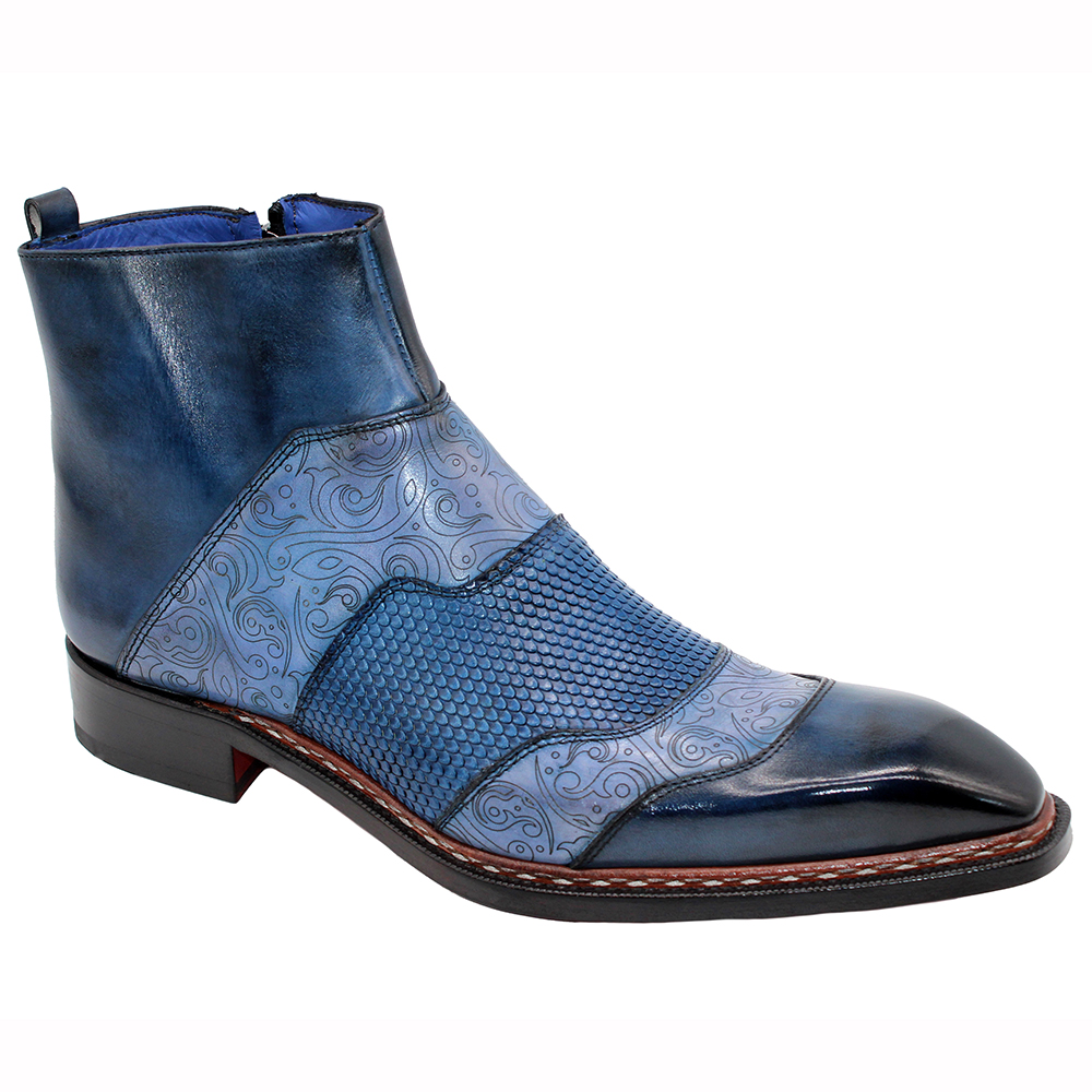 Emilio Franco Lucio Leather Boots Blue Combo Image