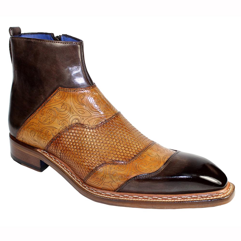 Emilio Franco Lucio Leather Boots Brown Combo Image