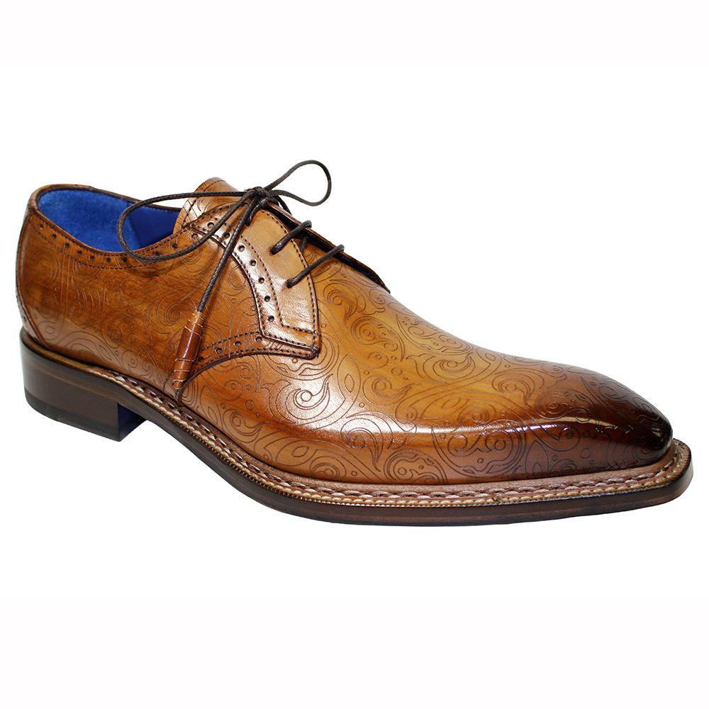 Emilio Franco Salvatore Leather & Laser Print Shoes Cognac Image
