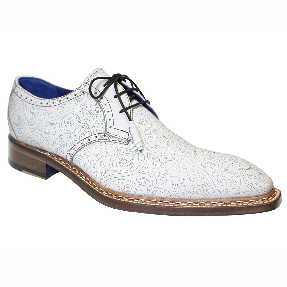 Emilio Franco Salvatore Leather & Laser Print Shoes White Image