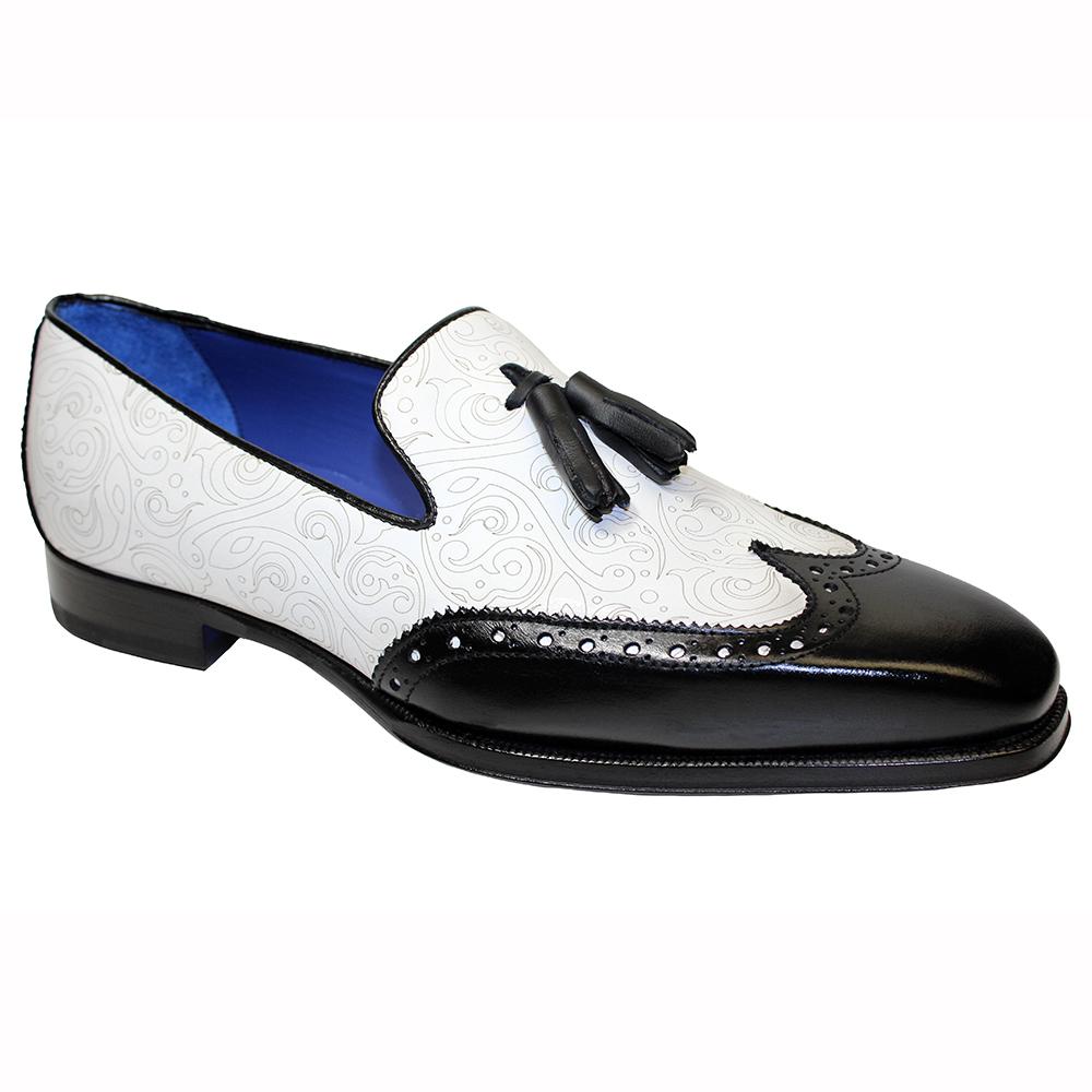 Emilio Franco Silvio Leather & Laser Print Shoes Black / White Image
