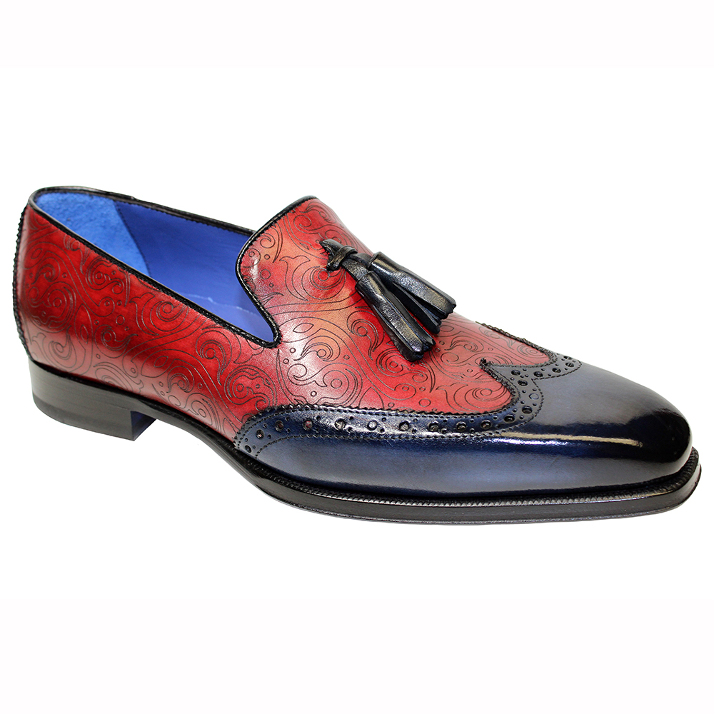 Emilio Franco Silvio Leather & Laser Print Shoes Navy / Red Image