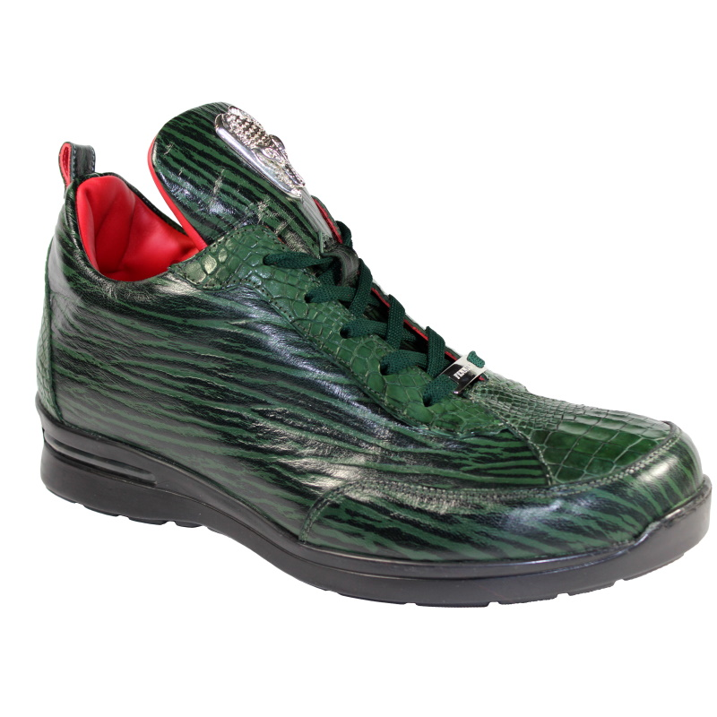 Fennix Alex Calfskin & Alligator Sneakers Green Image
