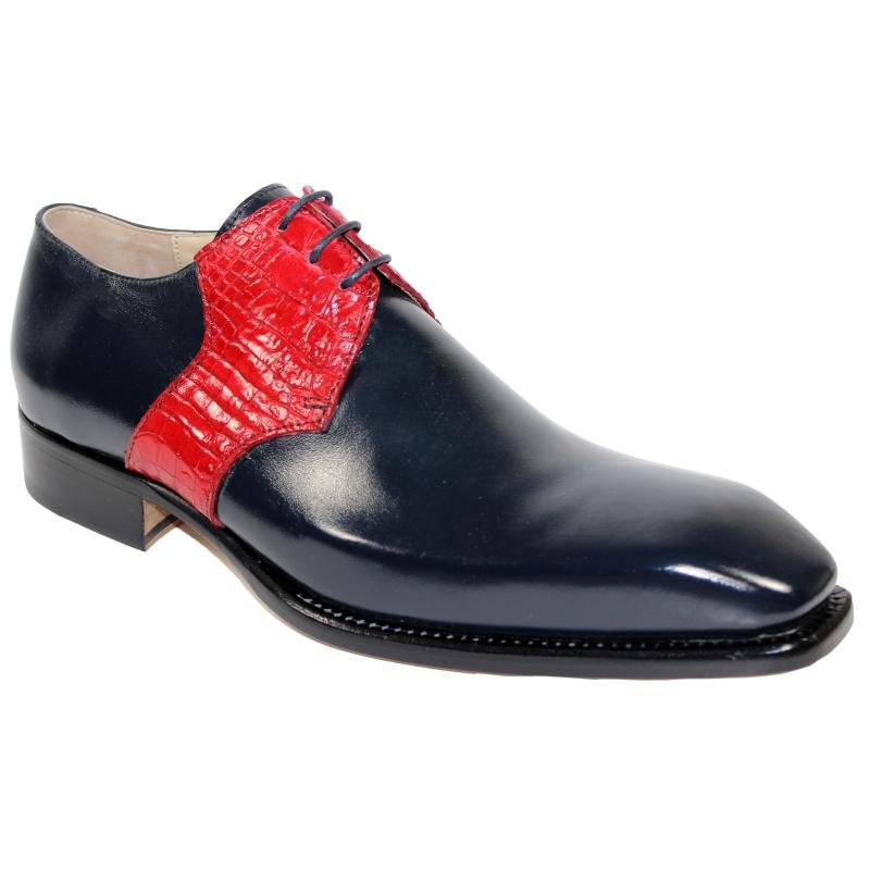 Fennix Arthur Calfskin & Alligator Shoes Navy / Red Image