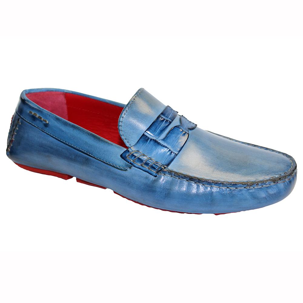 Fennix Caleb Leather & Alligator Loafers Jeans Image