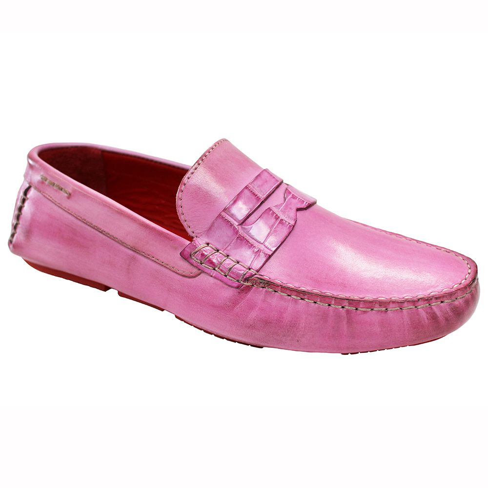 Fennix Caleb Leather & Alligator Loafers Pink Image