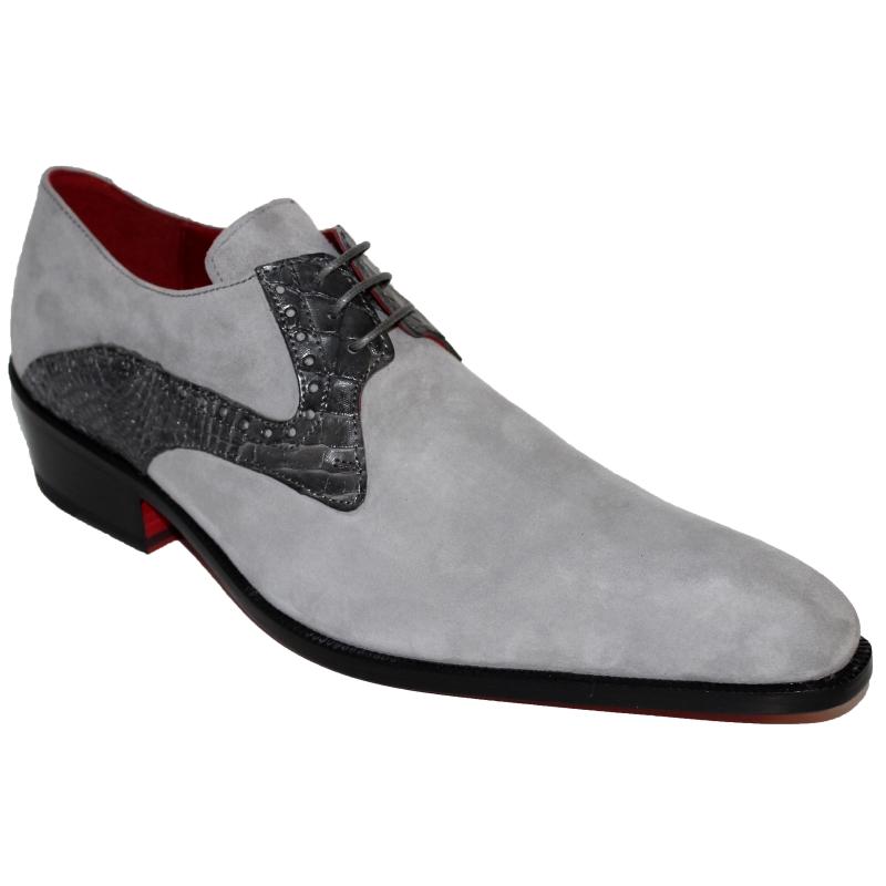 Fennix Arthur Calfskin & Alligator Shoes Gray Image