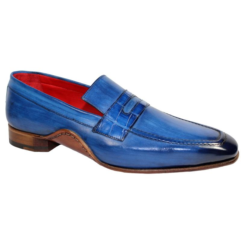 Fennix Edward Calfskin & Alligator Penny Loafers Antique Blue Image