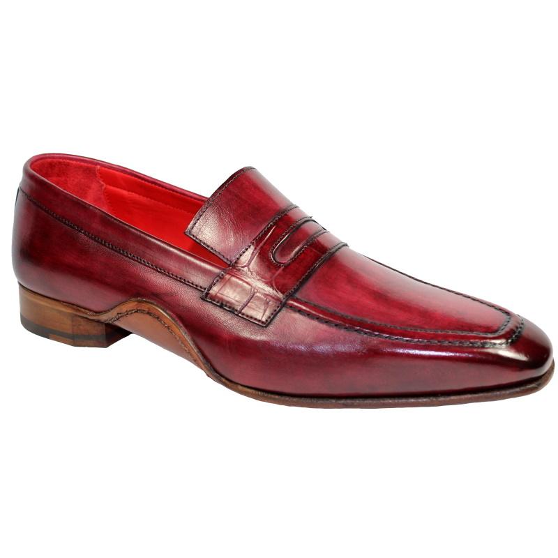 Fennix Edward Calfskin & Alligator Penny Loafers Antique Red Image