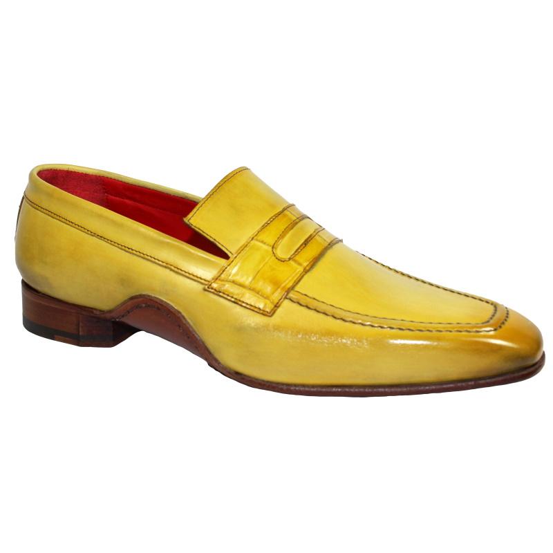 Fennix Edward Calfskin & Alligator Penny Loafers Antique Yellow Image