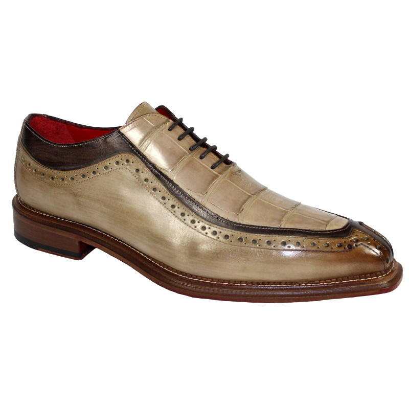 Fennix Elliott Alligator & Calfskin Oxfords Taupe / Chocolate Image