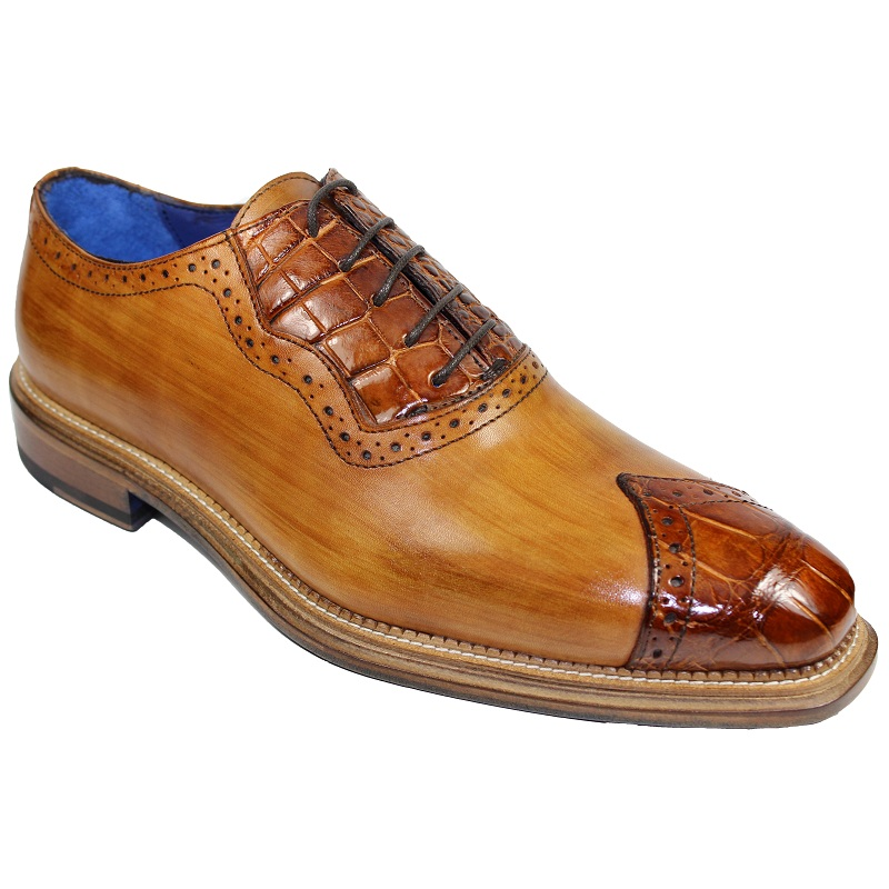 Fennix Ethan Calf and Alligator Lace-up Shoes Cognac Image