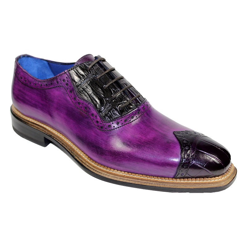 Fennix Ethan Calf and Alligator Lace-up Shoes Purple Image