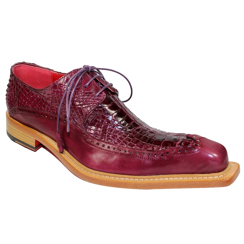 Fennix Finley Calf and Alligator Lace-up Shoes Burgundy Image