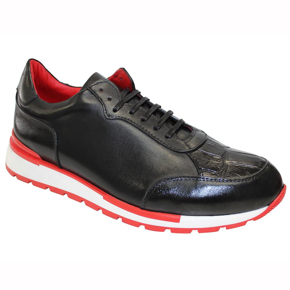 Fennix Freddie Leather & Alligator Sneakers Black Image