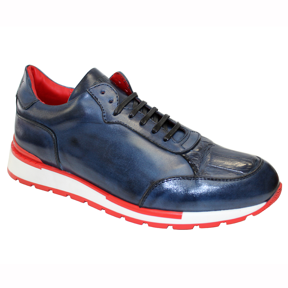 Fennix Freddie Leather & Alligator Sneakers Navy Image
