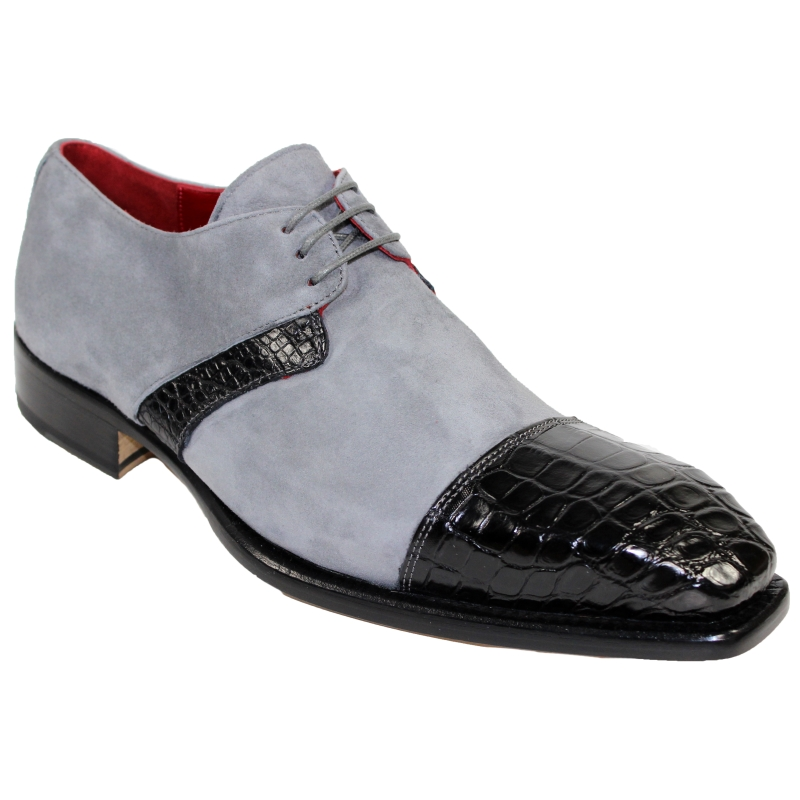 Fennix Harrison Alligator & Suede Shoes Gray / Black Image
