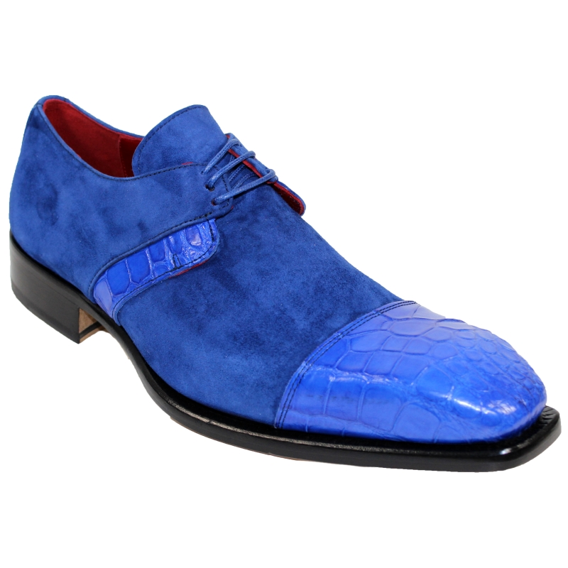 Fennix Harrison Alligator & Suede Shoes Sapphire Image