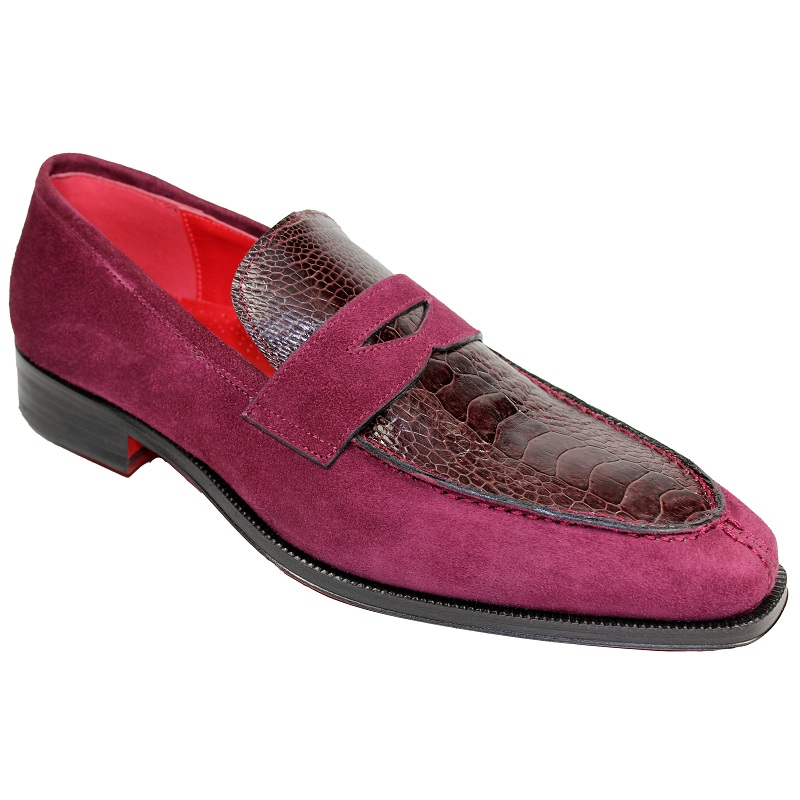 Fennix Harry Suede and Ostrich Slip-on Shoes Burgundy Image