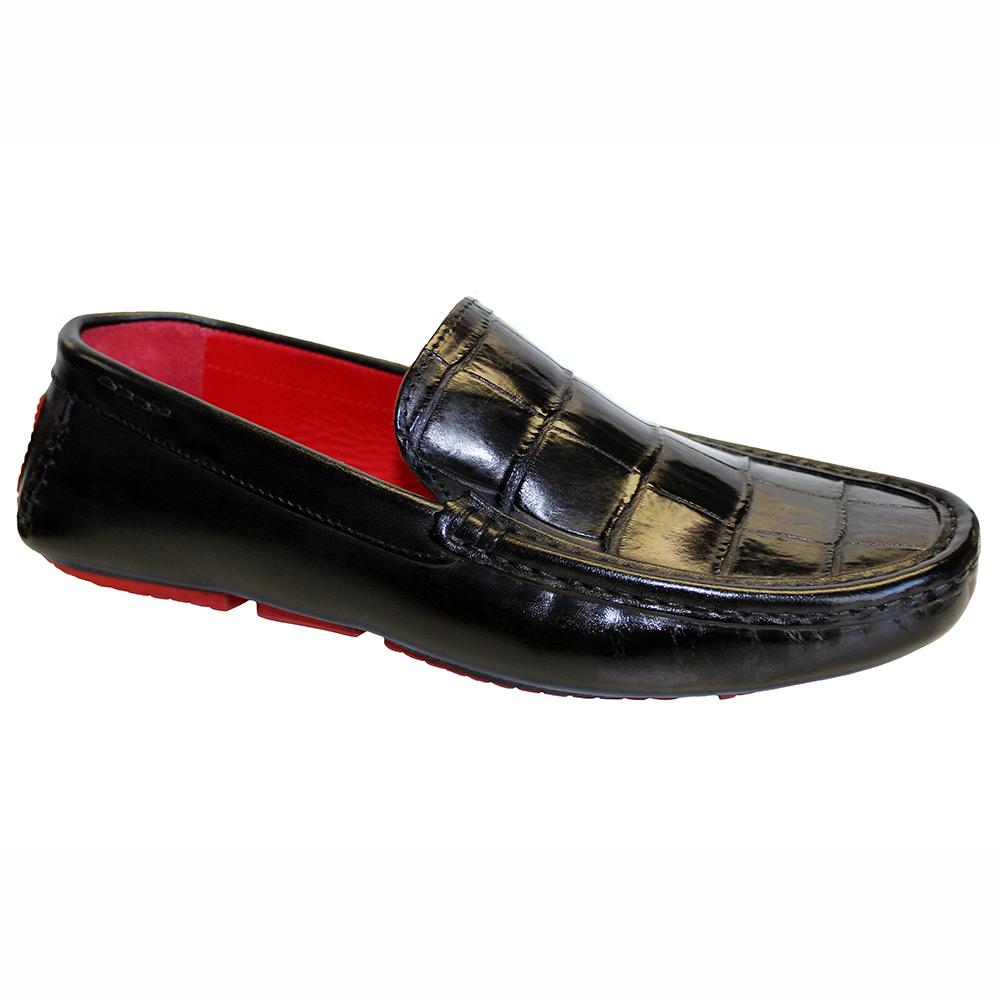 Fennix Hunter Leather & Alligator Loafers Black Image