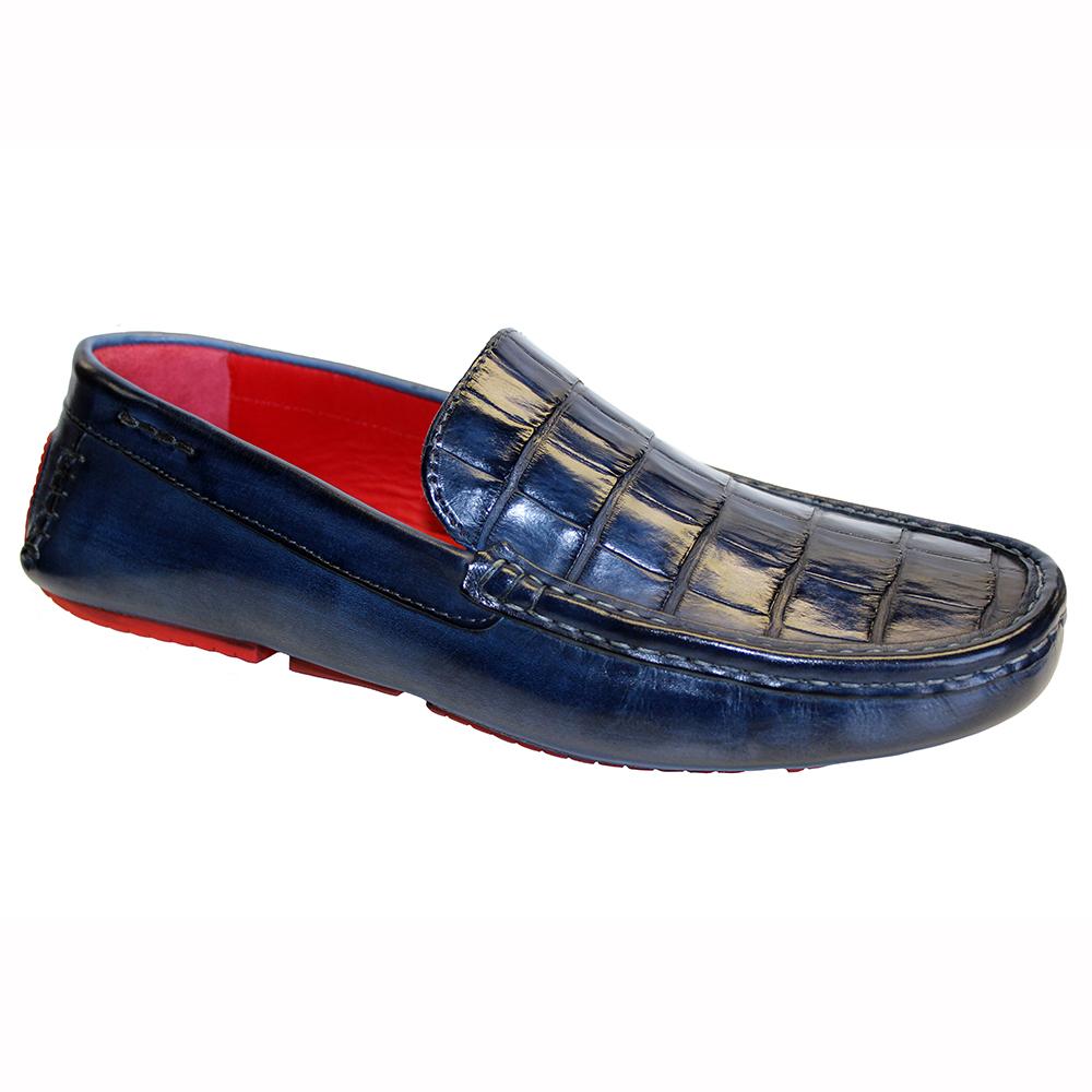 Fennix Hunter Leather & Alligator Loafers Navy Image