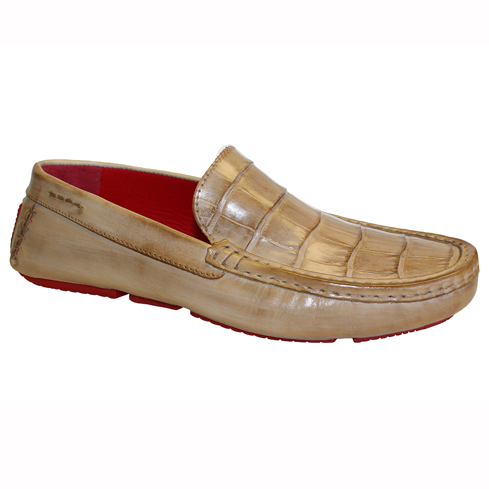 Fennix Hunter Leather & Alligator Loafers Taupe Image