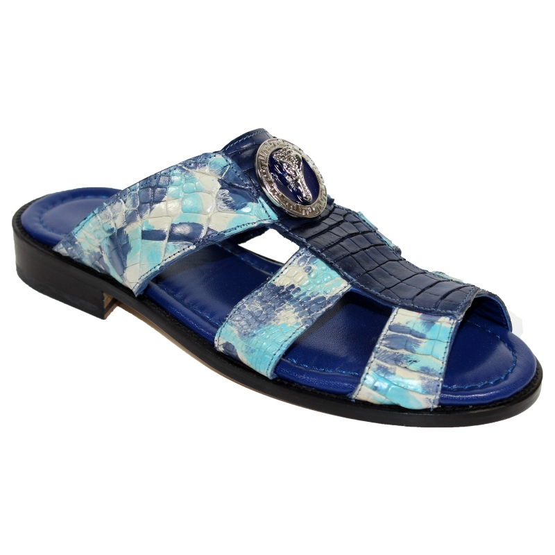 Fennix Ibiza Alligator Sandals Blue Combo Image