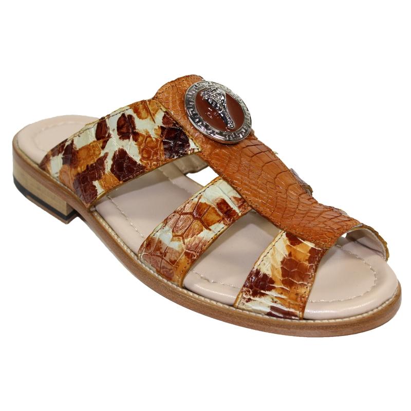 Fennix Ibiza Alligator Sandals Cognac Combo Image
