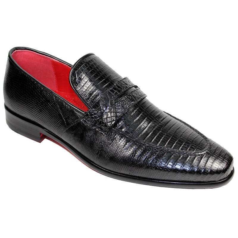 Fennix Jacob Alligator and Lizard Slip-on Shoes Black Image