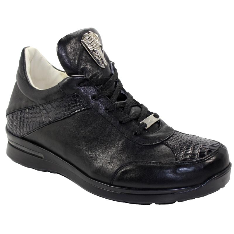 Fennix Jake Alligator & Calfskin Sneakers Black Image