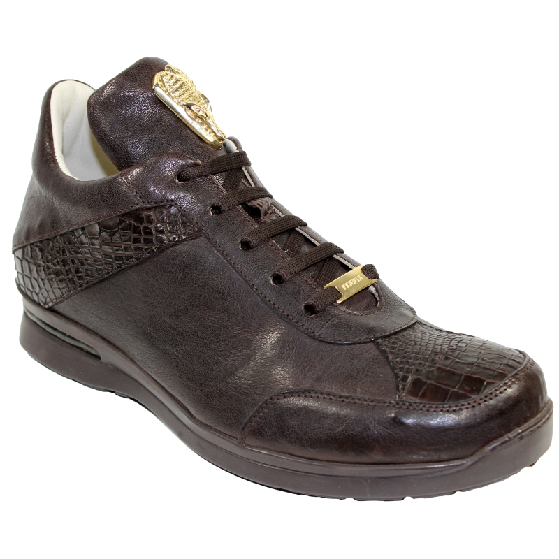 Fennix Jake Alligator & Calfskin Sneakers Chocolate Image