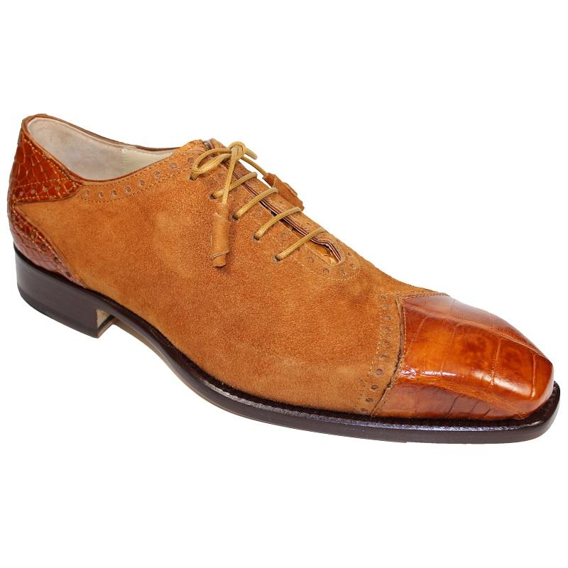 Fennix James Alligator and Suede Lace-up Shoes Cognac Image