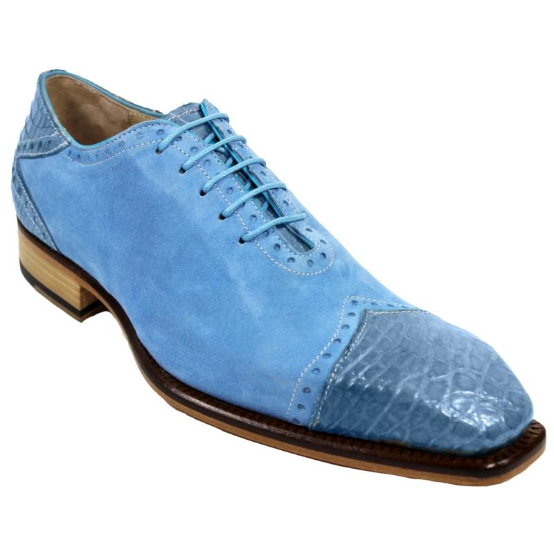 Fennix James Alligator & Suede Sneakers Light Blue Image