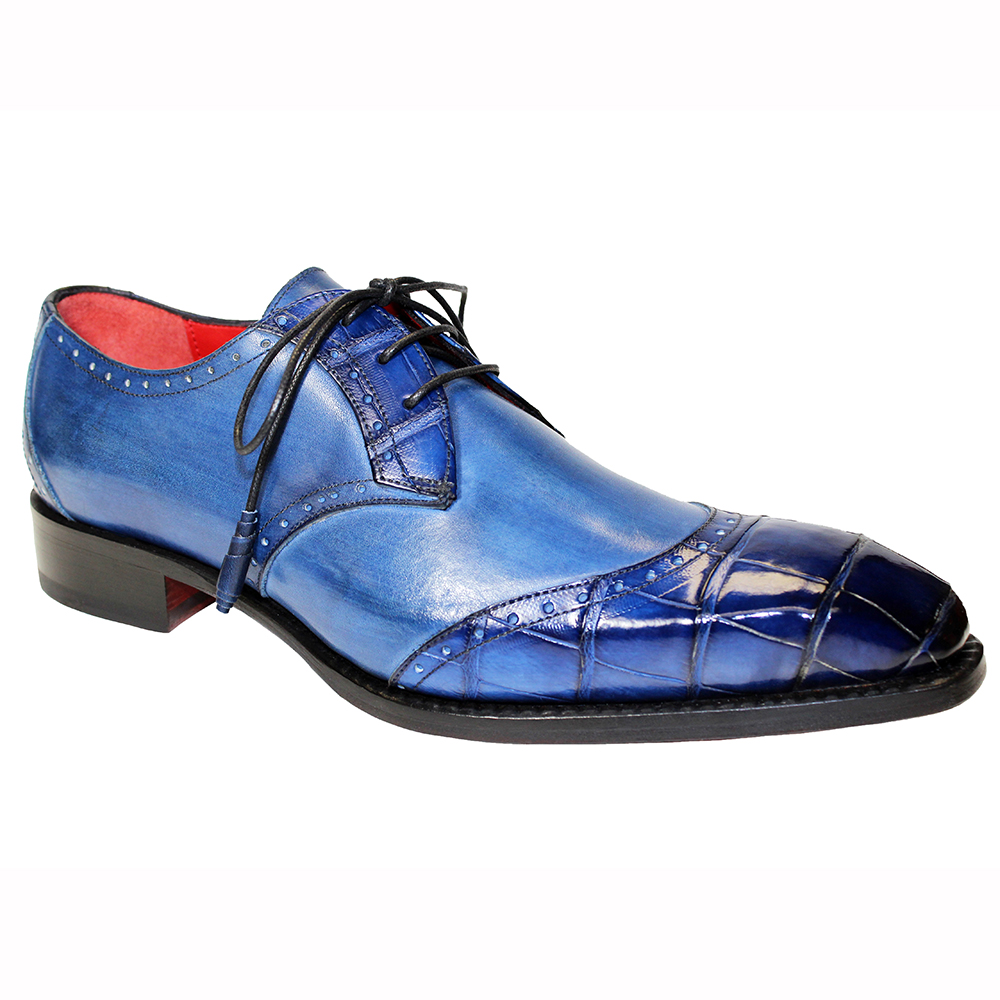 Fennix Jax Leather & Alligator Shoes Blue Image